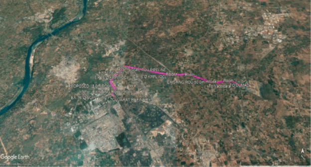 Aerial Snapshot of Hydrocarbon Pipeline from Gujarat Refinery to Dumad